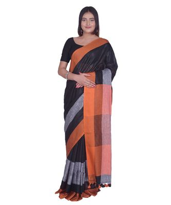 Handcrafted  Black Linen saree with contrast orange & Grey border