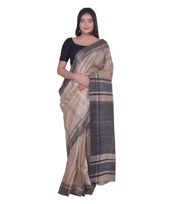 Handcrafted Tussar Ghicha Silk Saree