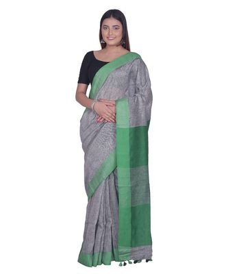 Handcrafted  Grey Linen saree with contrast Green  border