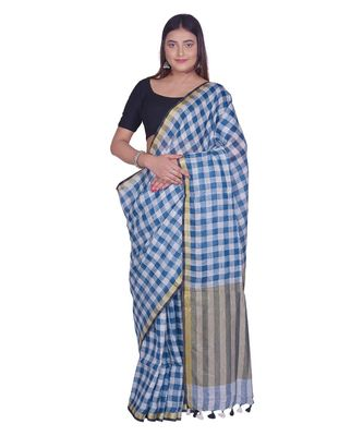 Handcrafted  Linen saree with block check pattern & golden zari border