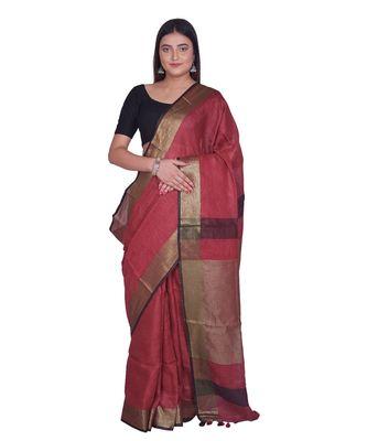 Handcrafted  Dark Maroon Shade Linen saree with golden zari border