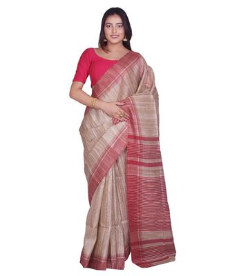 Handcrafted Tussar Ghicha Silk with Red Border