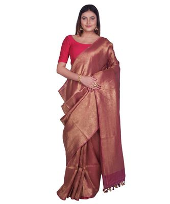 Handcrafted Maroon Golden shade Linen Zari saree