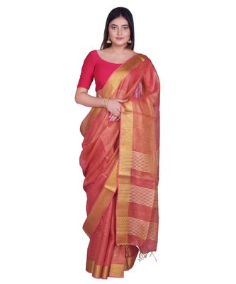 Handcrafted Carrot Golden shade Tissue Linen saree