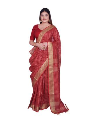 Handcrafted Red shade Linen saree with Checkered Zari Pattern