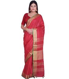 Handcrafted Red shade Linen saree with Golden Zari Border