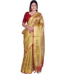 Handcrafted Golden Tissue Linen saree