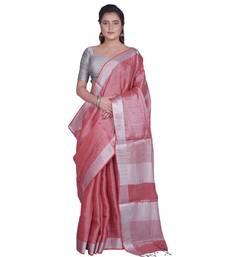 Handcrafted Tomato Tissue Linen saree with Silver zari border