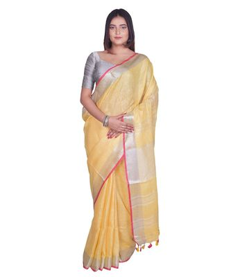 Handcrafted Yellow Linen saree with Silver zari border