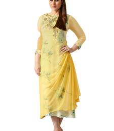 Yellow printed Georgette kurti