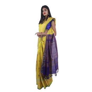 Dark yellow hand woven andhra pradesh handloom saree with blouse