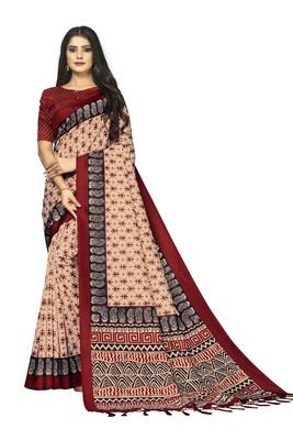 Bieth Women Ajrakh Block Printed Mysore Silk Saree with Blouse Piece