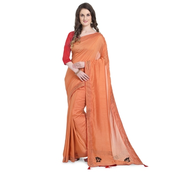 Orange hand woven georgette saree with blouse