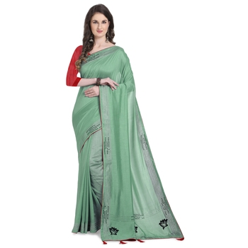 Green hand woven georgette saree with blouse