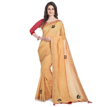 Yellow hand woven georgette saree with blouse