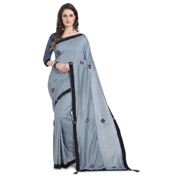 Charcoal hand woven georgette saree with blouse