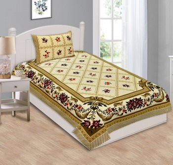 RIDAN SINGLE COTTON BED SHEET WITH ONE PILLOW COVER