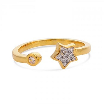 Designer Stylish Partywear Clubwear Gold Plated American Diamonds Cocktail Ring for Women and Girls