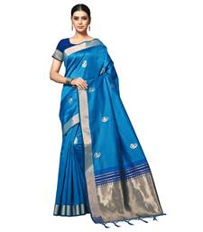Blue woven matka silk saree with blouse