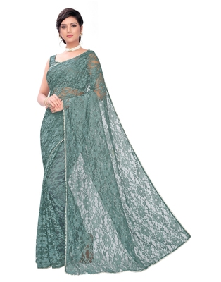 Green plain net saree with blouse