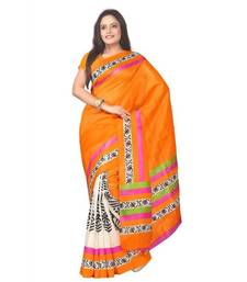 Buy orange printed silk saree with blouse bhagalpuri-silk-saree online