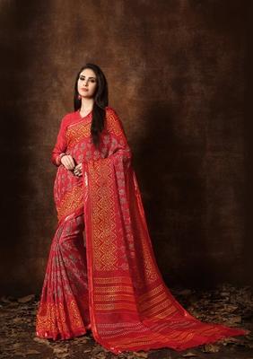 Women's Red Cotton Blend Printed Saree
