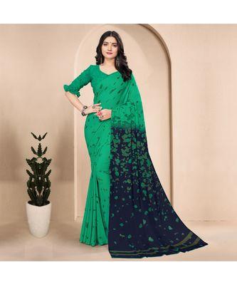 Women's Green Georgette Printed Saree
