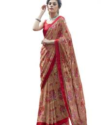 Tan printed georgette saree with blouse