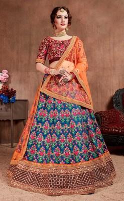 Navy-blue embroidered silk semi stitched Wedding Lehenga for Bridal