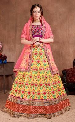 Yellow embroidered silk semi stitched Wedding Lehenga for Bridal