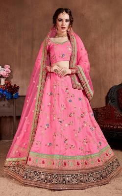 Pink embroidered art silk semi stitched Wedding Lehenga for Bridal