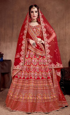 Red embroidered silk semi stitched Wedding Lehenga for Bridal