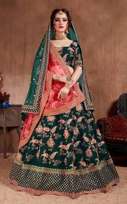 Dark-green embroidered silk semi stitched Wedding Lehenga for Bridal