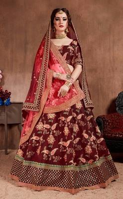 Dark-maroon embroidered silk semi stitched Wedding Lehenga for Bridal