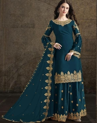 Dark-aqua-blue embroidered satin salwar