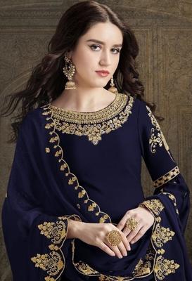 Dark-blue embroidered satin salwar