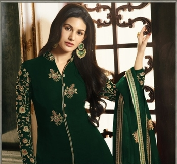 Green embroidered georgette salwar