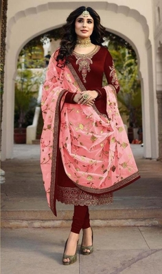 Maroon embroidered satin salwar