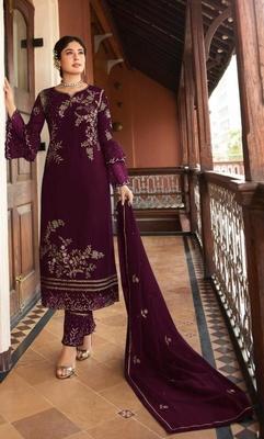 Wine embroidered silk salwar