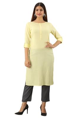 Light-yellow plain rayon ethnic-kurtis