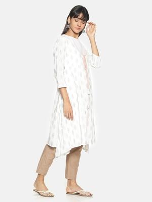 White printed cotton long-kurtis