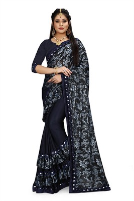 Navy blue printed lycra saree with blouse