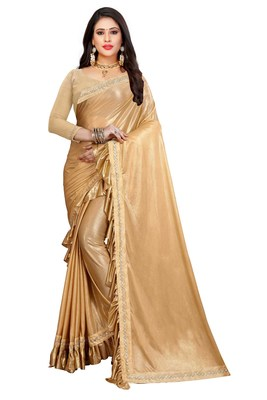 Golden plain lycra saree with blouse