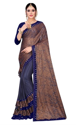 Brown printed lycra saree with blouse