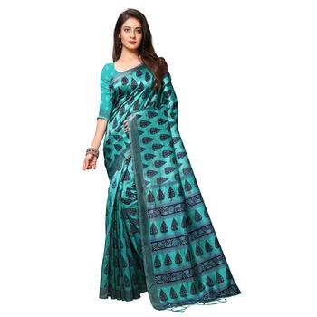 Sky blue printed art silk saree with blouse