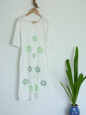 White with Amazing Block Prints Premium Khadi Kurta