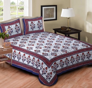 Ridan cotton printed multicolour double bed sheet with pillow cover