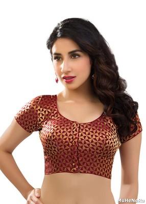75444cde69e055 Maroon brocade readymade-blouse in traditional katori cut from muhenera
