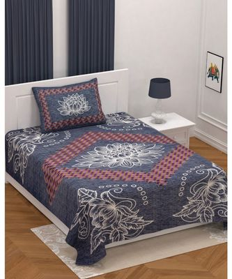 Multicolor cotton single bed sheet with one pillow cover