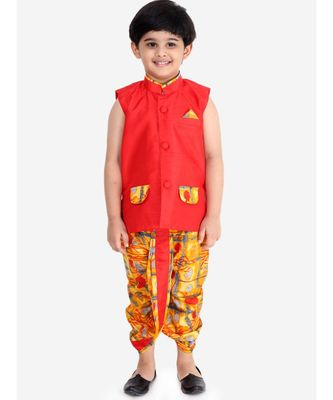 RED FESTIVE JACKET WITH DHOTI